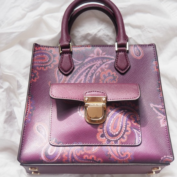 a607affa82c9 Michael Kors Bags | Beautiful Rare Plum Paisley Handbag | Poshmark